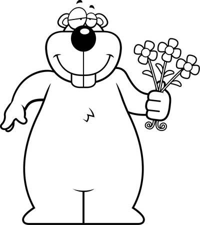 A happy cartoon gopher with a bouquet of flowers. 版權商用圖片 - 43332028