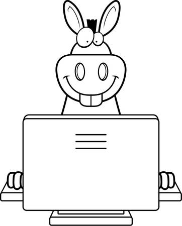 A happy cartoon donkey with a computer.