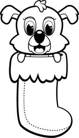 크리스마스 스타킹에서 행복 만화 강아지입니다.