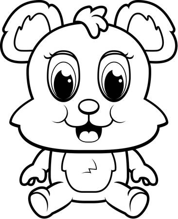 baby bear: A happy cartoon baby bear cub sitting and smiling. Illustration