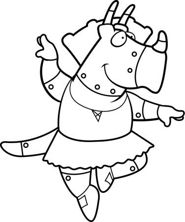 triceratops: A cartoon illustration of a robot triceratops dinosaur ballerina dancing. Illustration