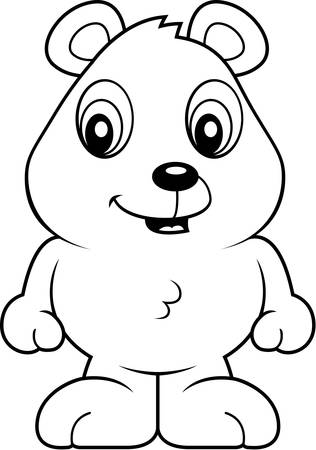 baby bear: A cartoon baby bear cub smiling and happy. Illustration
