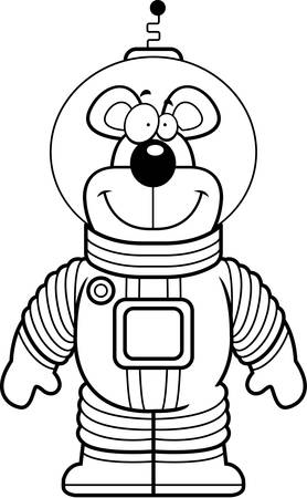 spacesuit: A happy cartoon bear astronaut in a spacesuit. Illustration