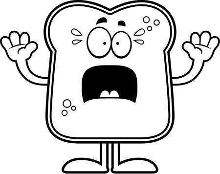 A cartoon illustration of a piece of bread looking scared.