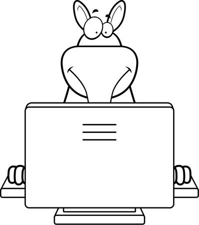 A happy cartoon aardvark with a computer.