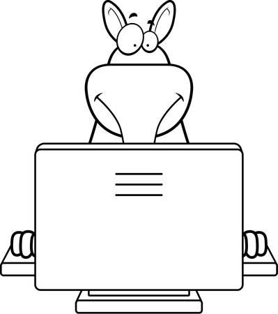 A happy cartoon aardvark with a computer.