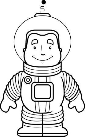 spacesuit: A happy cartoon astronaut standing and smiling.