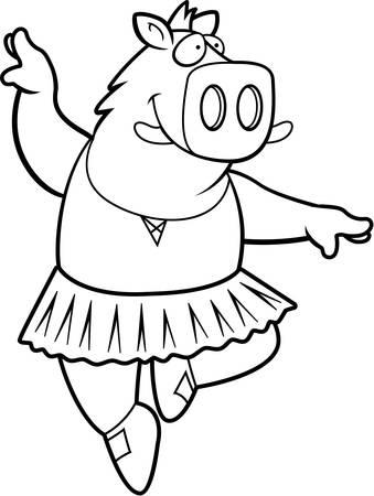 幸せな漫画のイノシシ バレリーナのチュチュで。
