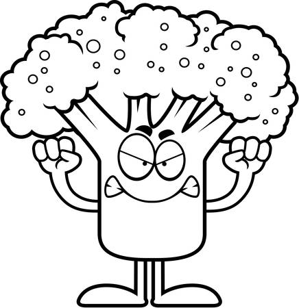 A cartoon illustration of a piece of broccoli looking angry. Çizim