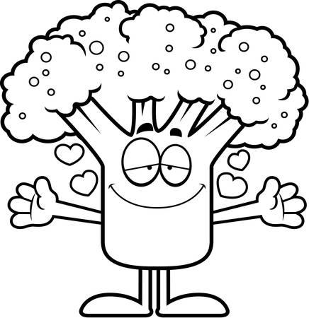A cartoon illustration of a piece of broccoli ready to give a hug. Çizim