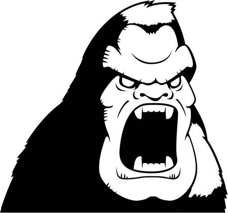 A cartoon ape with an angry expression. Illustration