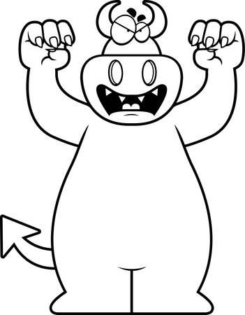 growling: A cartoon illustration of a devil growling.