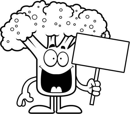 A cartoon illustration of a piece of broccoli holding a sign. Çizim