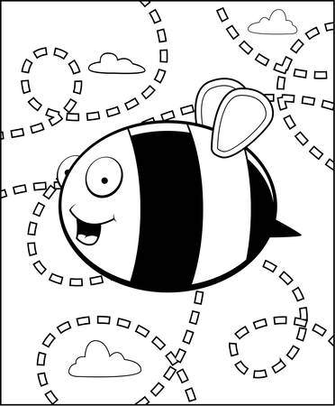 buzzing: A cartoon bee buzzing around in the air. Illustration
