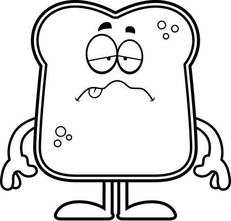 A cartoon illustration of a piece of bread looking sick. Illustration