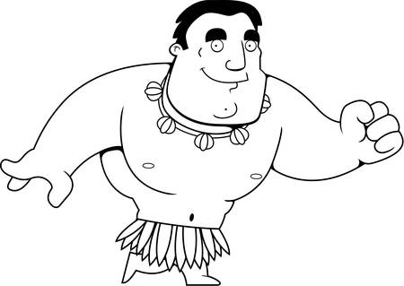 islander: A cartoon islander man walking and smiling.