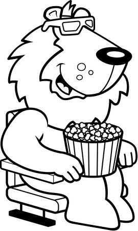 watching 3d: A cartoon illustration of a lion watching a 3D movie. Illustration