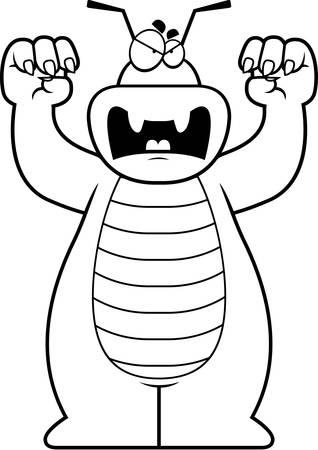 growling: A cartoon illustration of a bug growling.