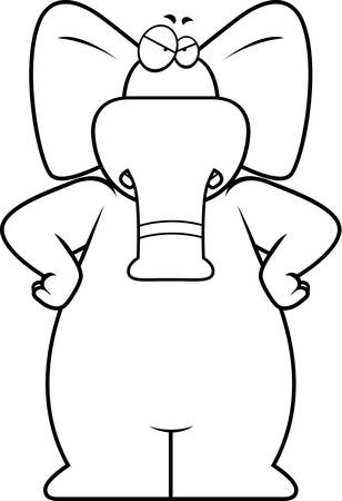 elephant angry: An angry cartoon elephant frowning and looking upset.