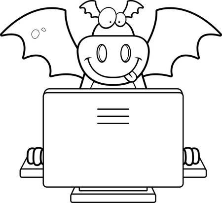 컴퓨터와 행복 만화 드래곤입니다. 스톡 콘텐츠 - 43332478
