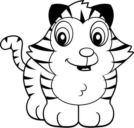 Tiger cub: Un cachorro de tigre de beb� de dibujos animados sonriente y feliz.