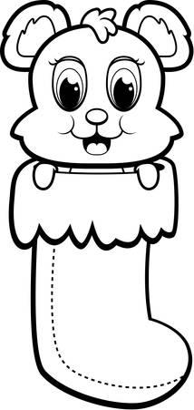 크리스마스 스타킹에 행복 만화 곰. 일러스트