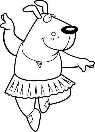 A happy cartoon dog ballerina in a tutu.