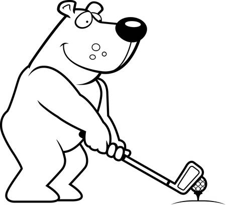 rt: A cartoon illustration of a bear playing golf.