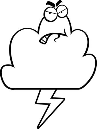 A cartoon storm cloud with an angry expression. Иллюстрация