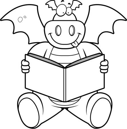 cartoon dragon: A happy cartoon dragon reading a book.