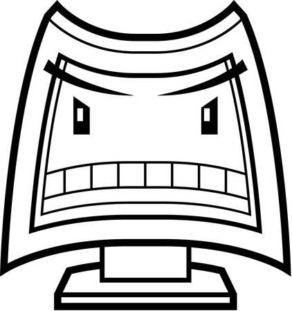 화가 식을 만화 컴퓨터 화면.