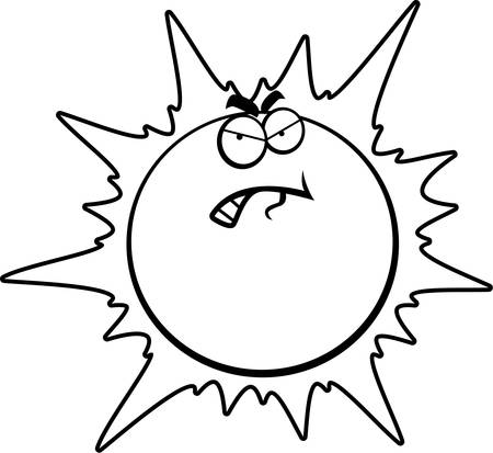 A cartoon sun with an angry expression.