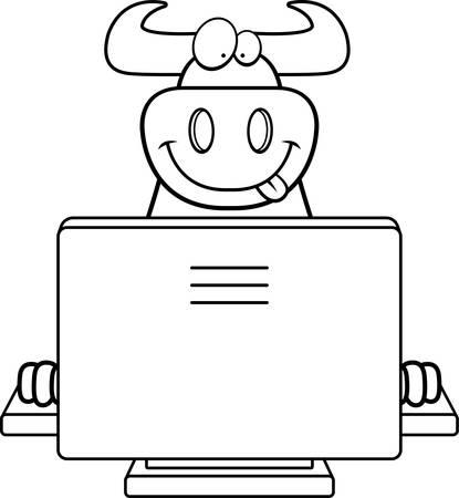 컴퓨터와 함께 행복 한 만화 황소입니다. 일러스트