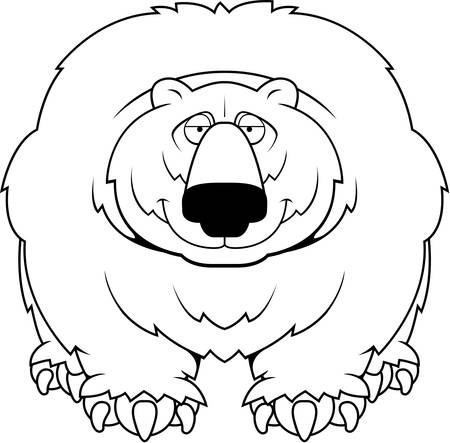 A cartoon big hairy bear smiling.