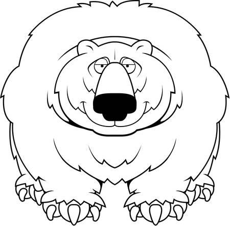 A cartoon big hairy bear smiling.