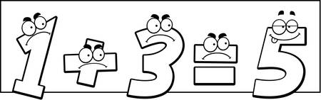addition: A cartoon illustration of numbers that add up wrong.