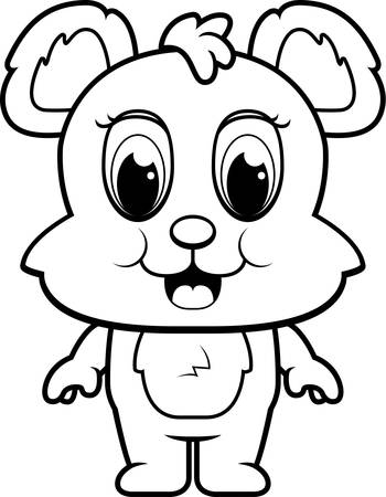 baby bear: A happy cartoon baby bear cub standing and smiling. Illustration