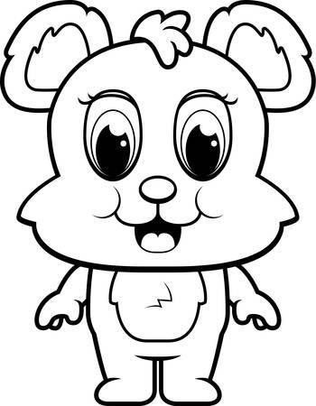 bear cub: A happy cartoon baby bear cub standing and smiling. Illustration