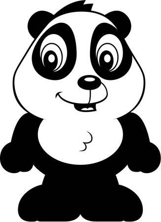 panda cub: A cartoon baby panda bear cub smiling and happy.