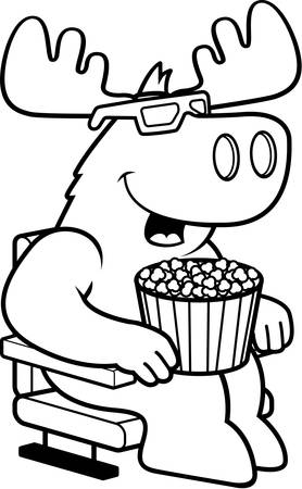watching 3d: A cartoon illustration of a moose watching a 3D movie. Illustration