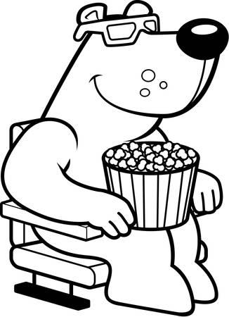 watching 3d: A cartoon illustration of a bear watching a 3D movie.