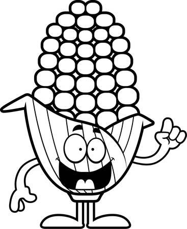 아이디어와 옥수수의 귀의 만화 그림.