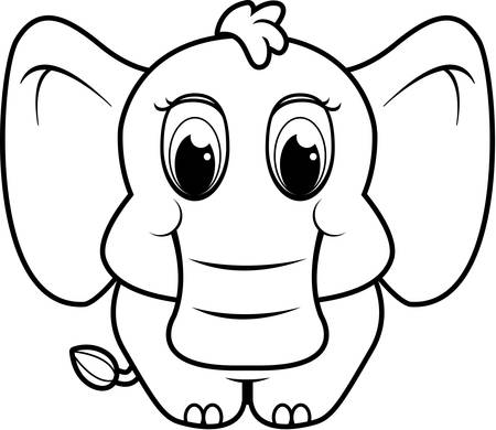 A baby cartoon elephant standing on four legs. Иллюстрация