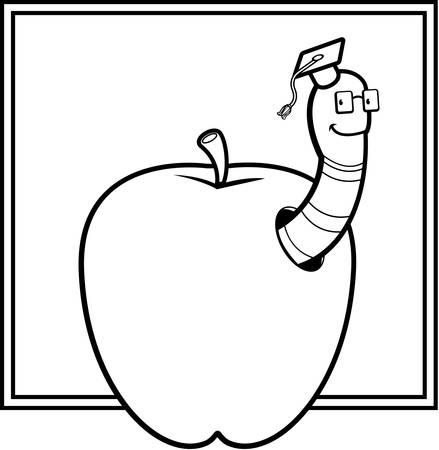 gusano caricatura: Un profesor de gusano de dibujos animados feliz en una manzana.