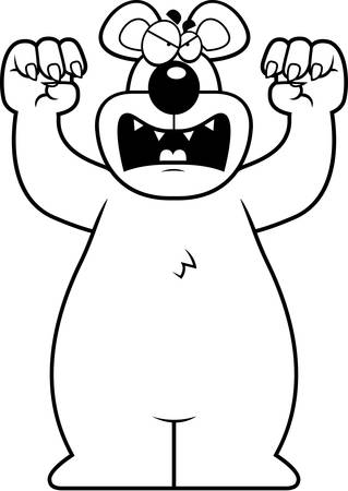 A cartoon bear with claws out ready to attack. Illustration