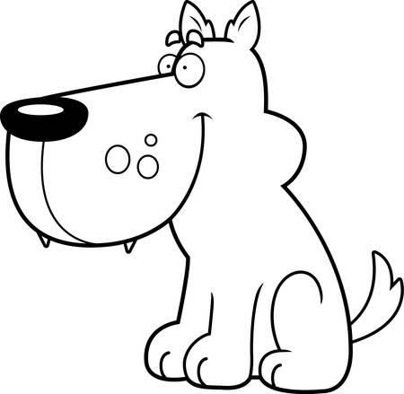 Een happy cartoon wolf zitten en glimlachend.