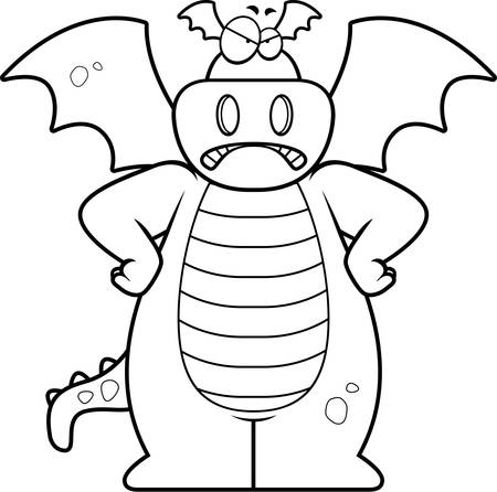 A cartoon dragon with an angry expression.