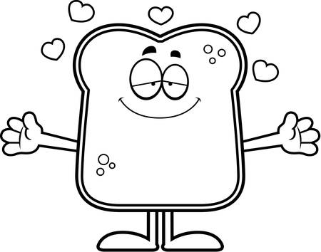 A cartoon illustration of a piece of bread ready to give a hug. Illustration