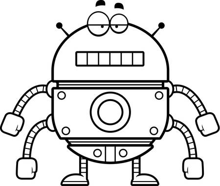 A cartoon illustration of a gold robot with an unemotional expression.