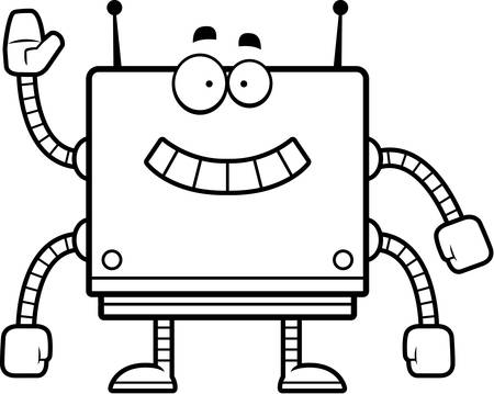 smirking: A cartoon illustration of a square robot smiling and waving.